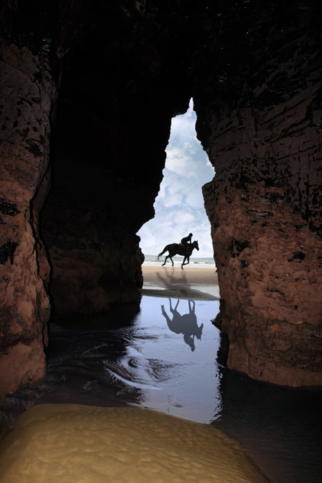 Photograph horse galloping past cave by David Morrison on 500px