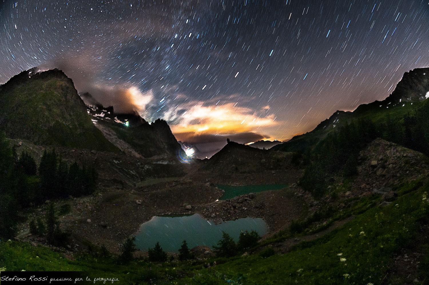 Photograph StarTrail one shot Miage Lake by Stefano Rossi on 500px