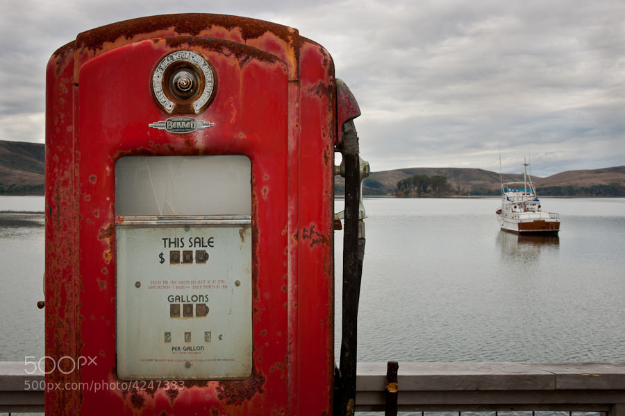 An old gas pump on a boat dock in Tomales Bay