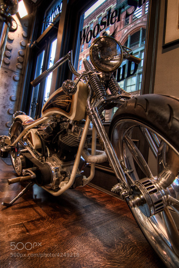 who doesn't know him. Ami James the famous tattooist. This is probably not his bike but it's in his parlor in Manhattan