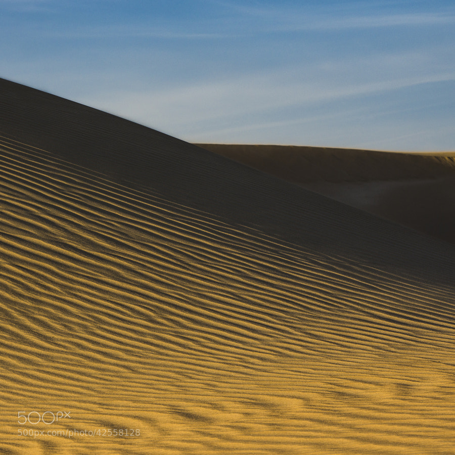 When sunlight paints on sand dunes, Kuwait desert