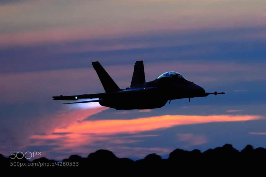 F/A-18F Super Hornet takes off during the NAS Pensacola night show.