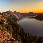 Постер, плакат: Crater Lake Oregon panorama @ sunrise