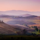 Tuscan dream, July 2013. San Quirico, Val d'Orcia. On my last day in San Quirico I headed out to shoot the characteristic morning mist. Unfortunately, this morning it was not present. On my way back to the hotel, the sun rose en enlightend the landscape with a wonderful pink hue contrasting the newly plowed fields with a wonderful warm orange. I stopped curbside and ran through an olive grove, set up my tripod an caught this moment as my last impression from this fantastic area.