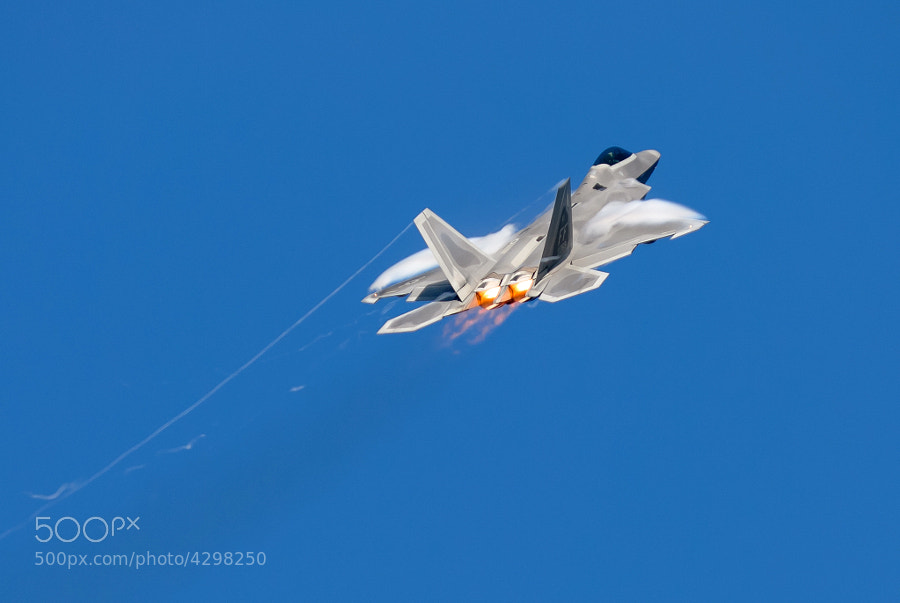 F-22A Raptor pulls into a climb over Marietta, Georgia