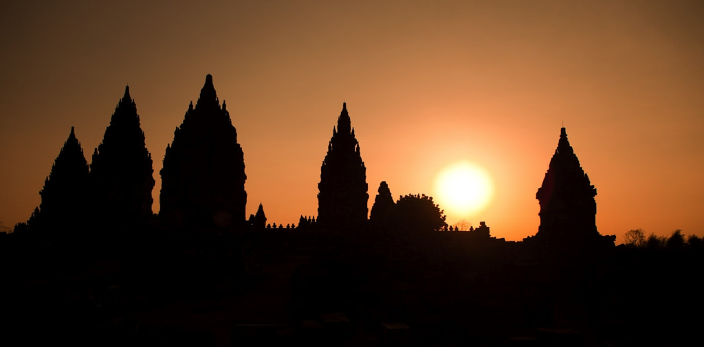 Photograph temple Prambanan - silhouette by Marc Wegner on 500px