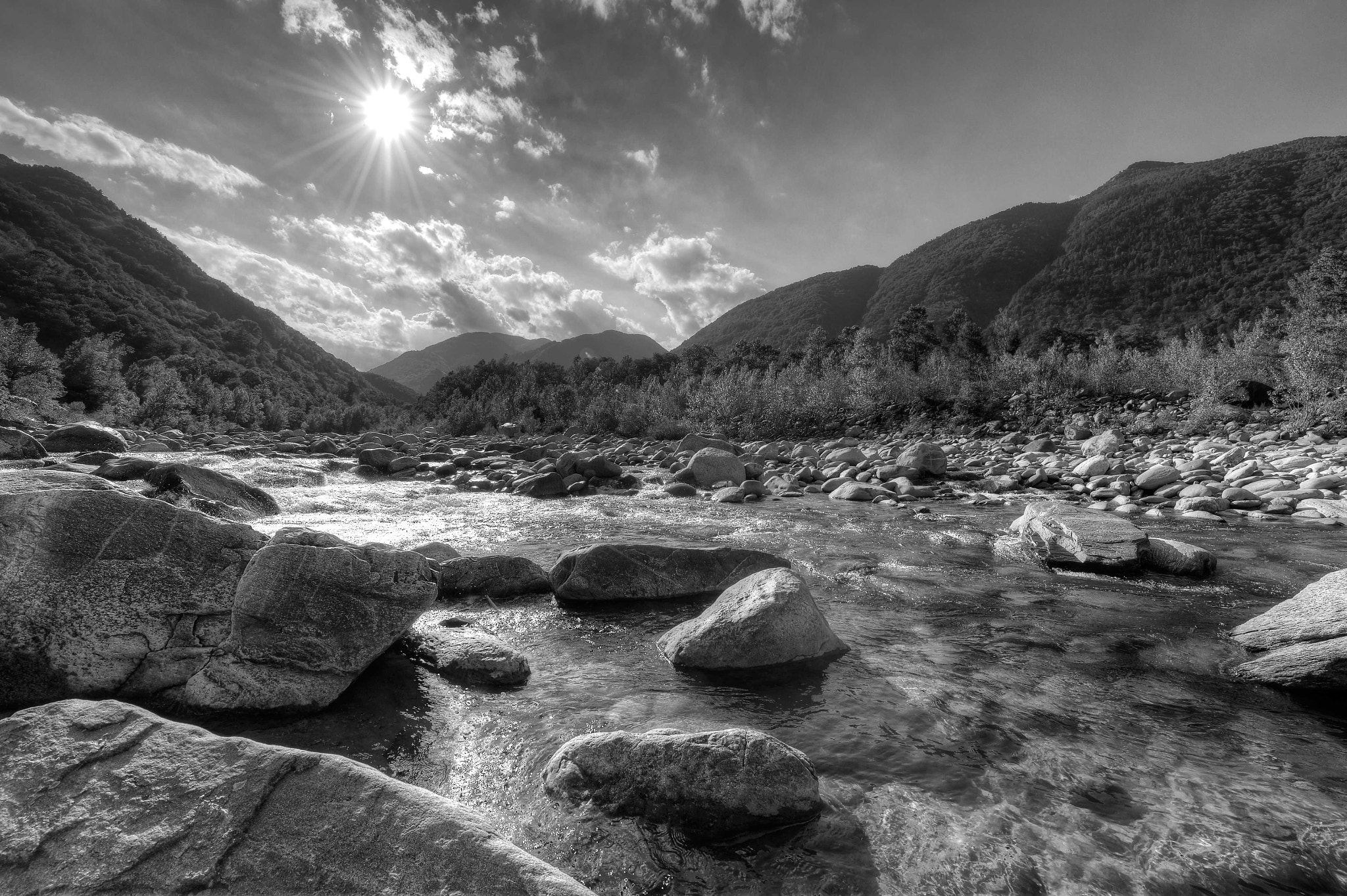 Photograph Im Tessin (2) sw - Melezza bei Losone by Franz Engels on 500px