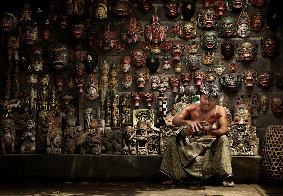 Photograph The Balinese Masks Maker and His Rooster by Ario Wibisono on 500px