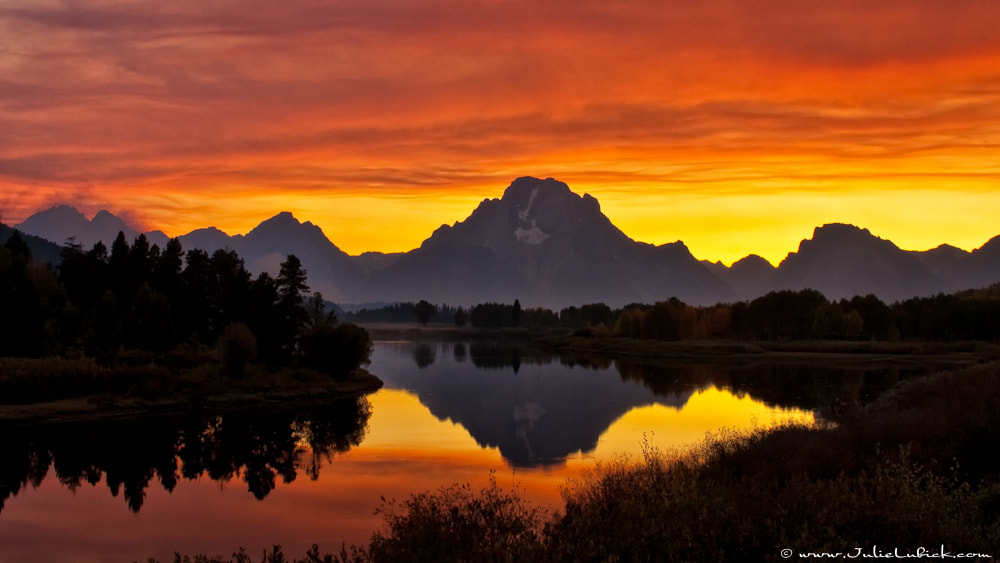 Photograph Smokey Sunset at Oxbow Bend by Julie Lubick on 500px