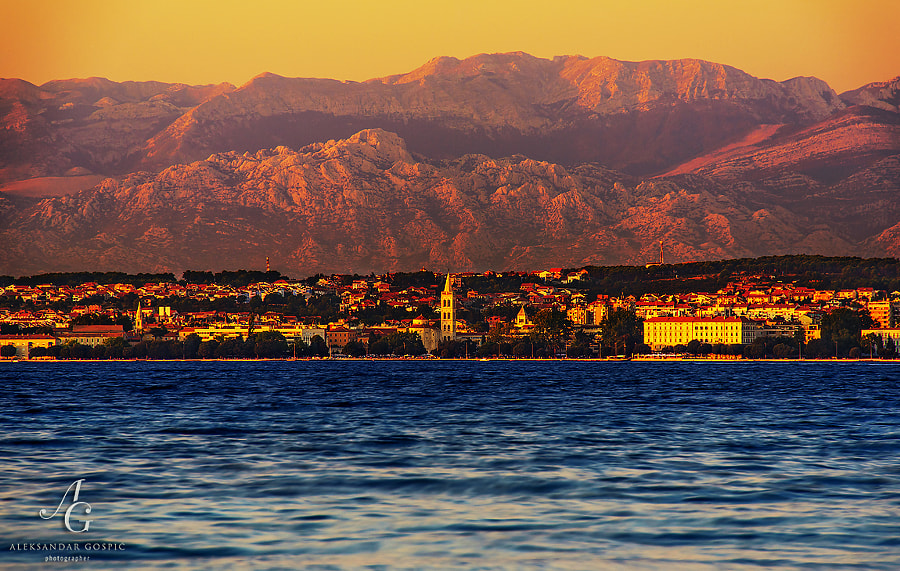 The last rays of sun splashed over Zadar and Velebit mountain