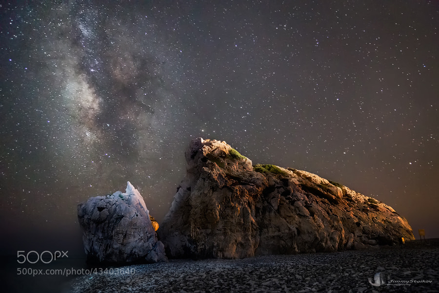 Photograph Milky Way - rock of Aphrodite by Jimmy Stoikov on 500px