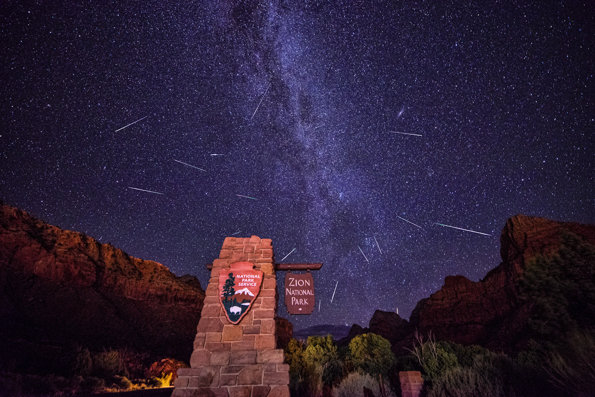 Photograph Perseids over Zion by Argo Shots on 500px