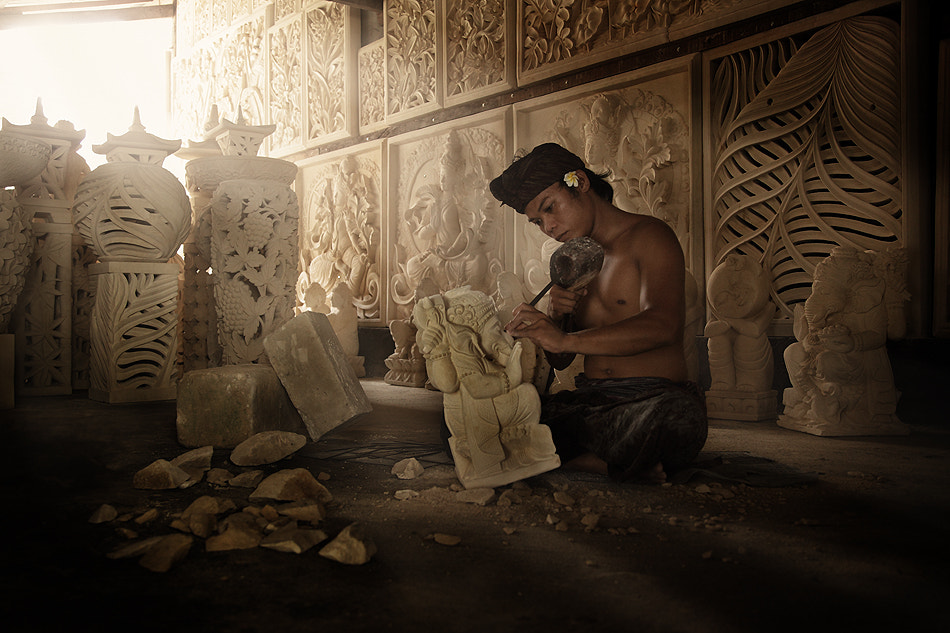 Photograph The Balinese Stone Carver at Work	 by Ario Wibisono on 500px