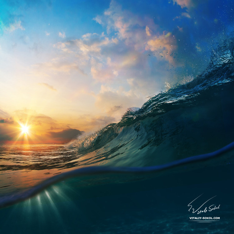 Photograph sunset on the beach with breaking ocean wave by Vitaliy Sokol on 500px