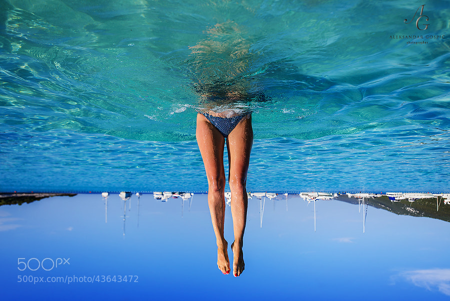 Fun in the blue of Saharun beach, Dugi otok (Long island), Croatia