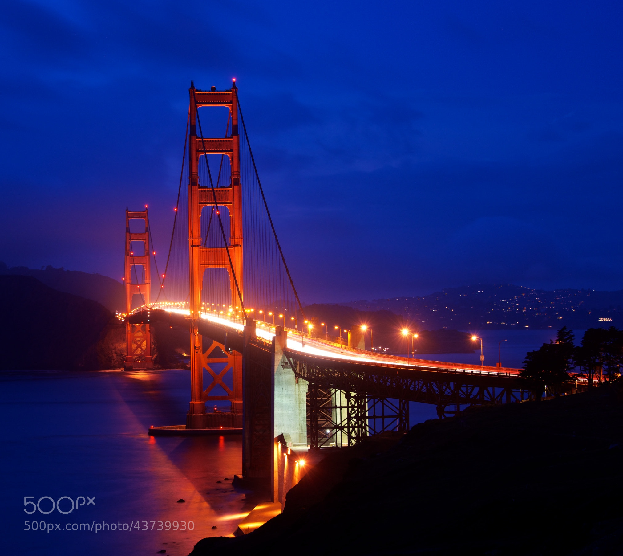 Photograph Golden Gate on Cloudy Night by Ryan Doptis on 500px