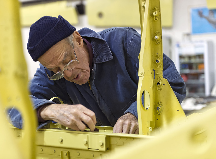 The CAF Dixie Wing is restoring a Bell P-63A KIngcobra aircraft. A dedicated volunteer is working on the airframe.