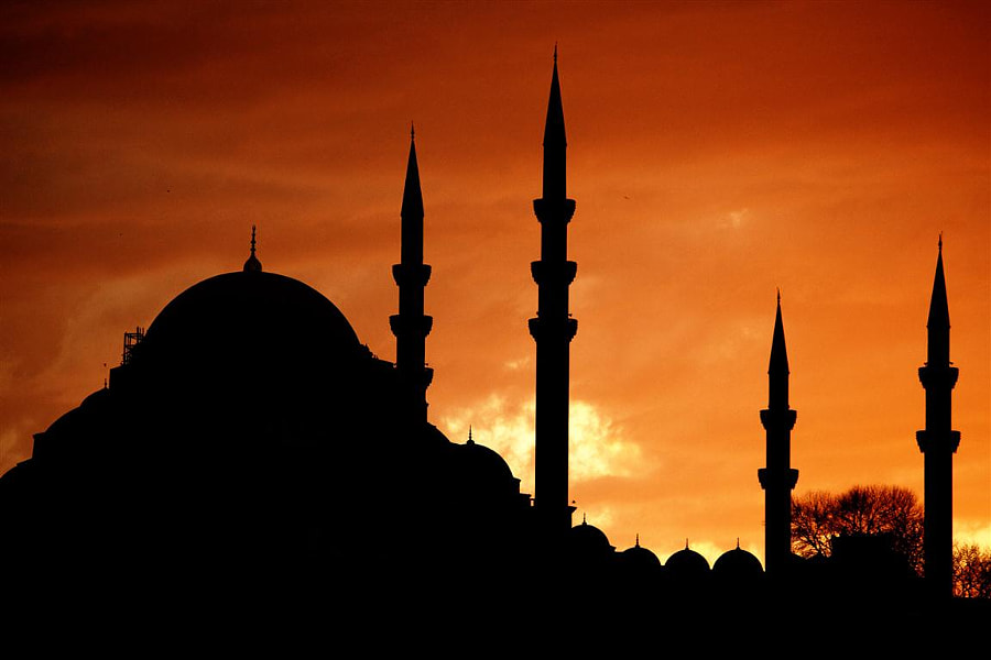 silhouette of the mosque