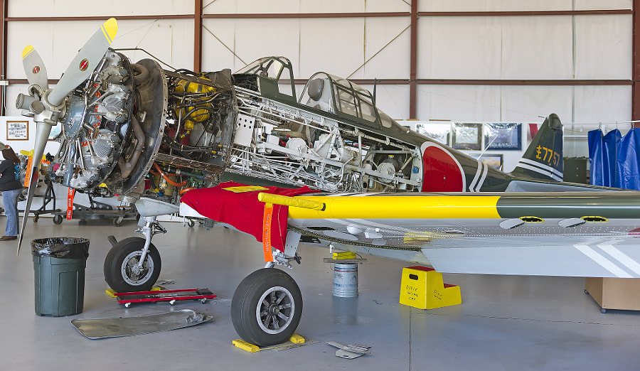 The FAA requires each aircraft to undergo an annual inspection to verify airworthiness. It involves opening up the aircraft to facilitate inspection. This is an aircraft undergoing the annual inspection at the CAF Dixie Wing