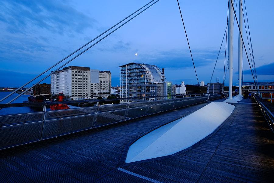Dusk at Victoria Dock Bridge