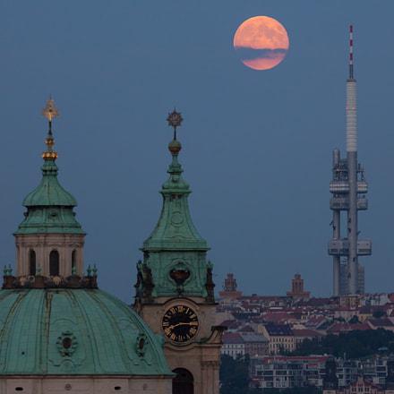 Full moon over Prague