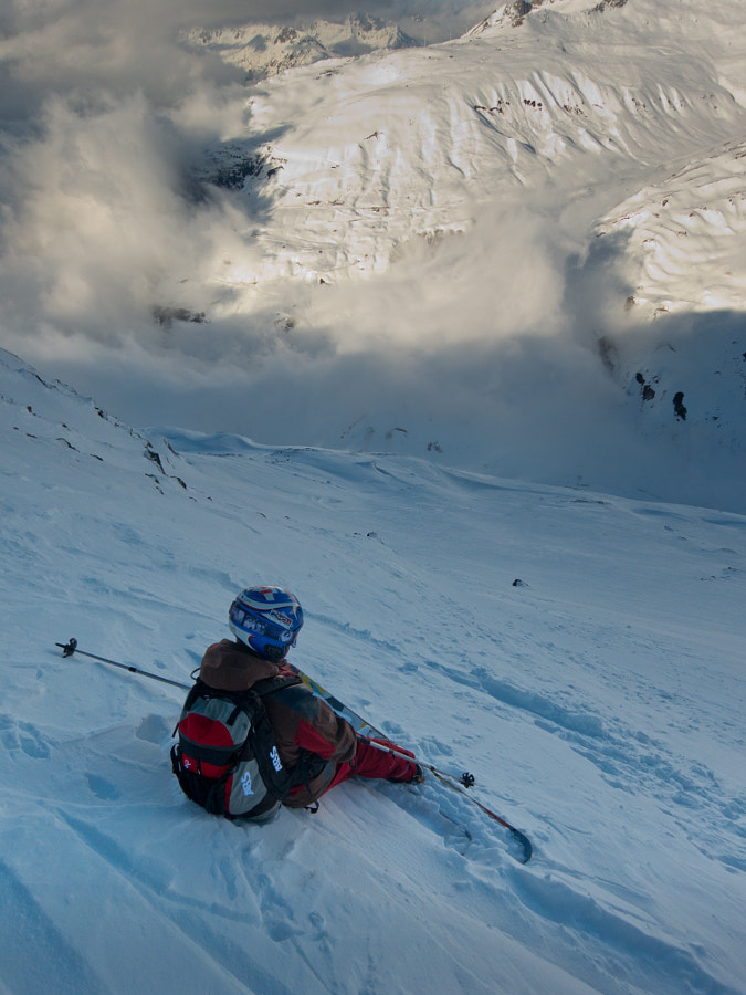 My colleague Ivan taking a short break while freeriding in Andermatt, Switzerland