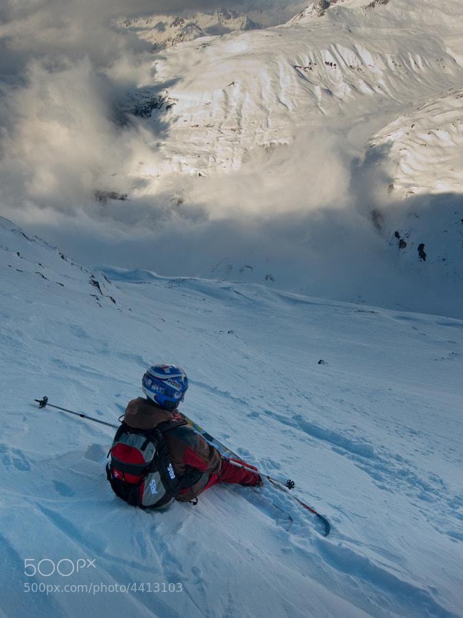 My colleague Ivan taking a short break while freeriding in Andermatt, Switzerland