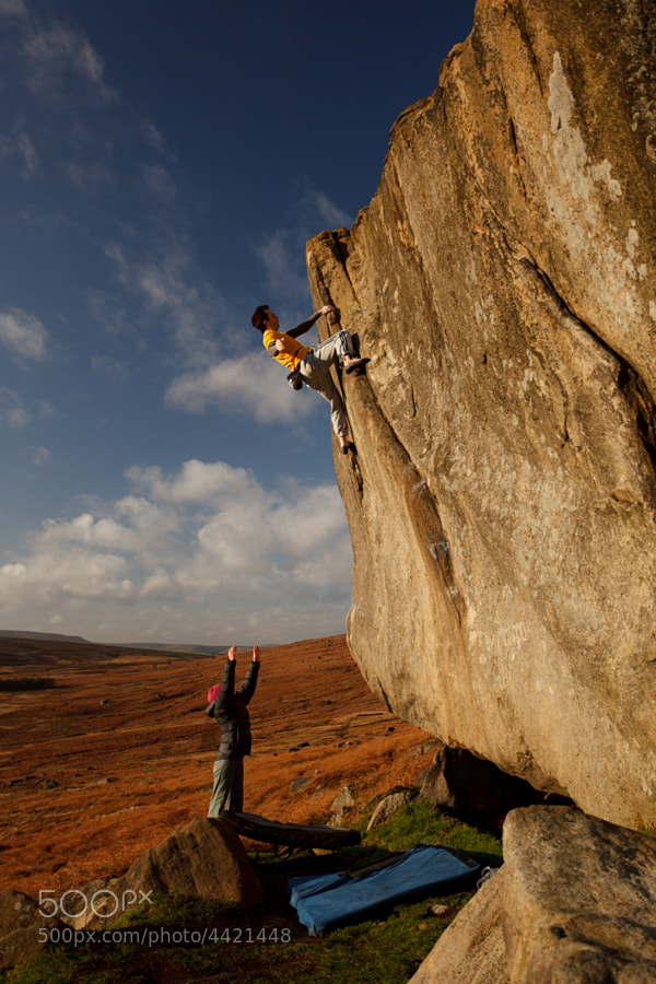 James Blay high on Not to be Taken Away, the ultra-classic highball of Stanage Plantation, The Peak District.