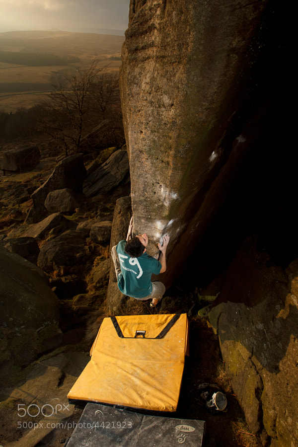 Michele Caminati making swift work of the sit-down start to Help The Young, Stanage Plantation, The Peak District.