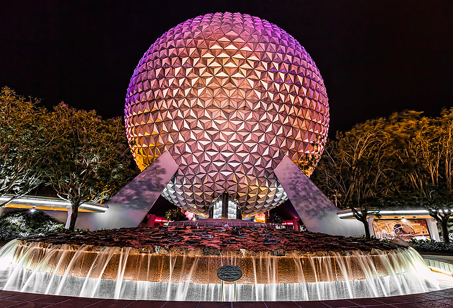 Epcot Center in Florida Disney World at night