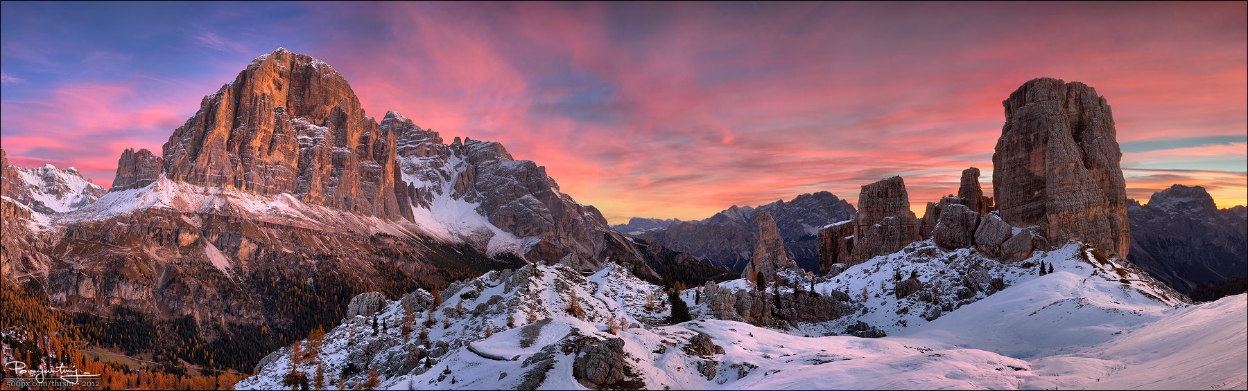Photograph Cinque Torri (panorama) by Andrew Thrasher on 500px