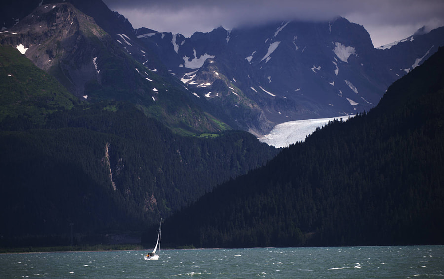 Sailing the waters of Seward, Alaska, USA.