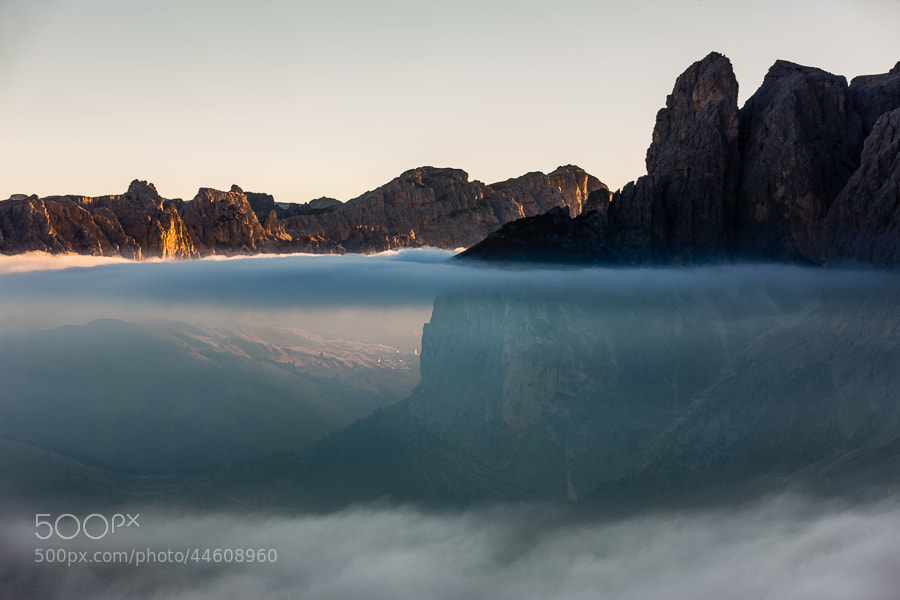 Photograph Layers of clouds with morning sun at the Sella group by Hans Kruse on 500px