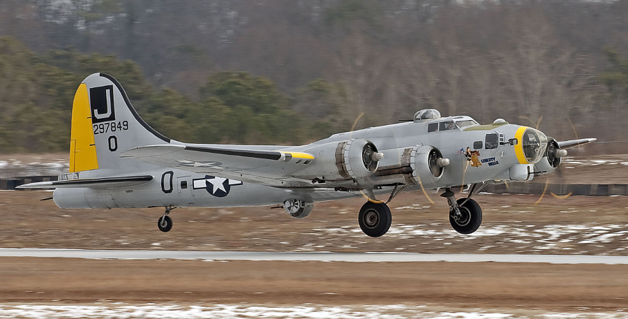 The B-17 Liberty Belle takes off from PDK Airport in Atlanta, during a visit in Feb. 2010