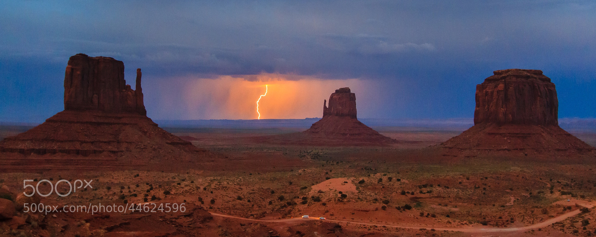 Photograph Lightning over the Mittens, Monument Valley by Alessandro Restelli on 500px