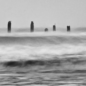 I have been waiting for an opportunity with some fog to shoot these old pilings off the beach in Galveston, TX. Finally had foggy weather with some stormy seas that made for interesting conditions.   This is all that is left of the famous Balinese Room. Built in 1920 and stretching 200 meters into the Gulf of Mexico, Hurricane Ike took it away in Sept 2008.