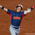 Japan's Yu Inaba Celebrates a home run during the Cal Ripken World Series.