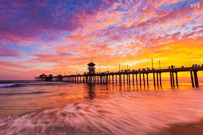 Photograph Warm Sunset at Huntington Beach Pier by Nhut Pham on 500px