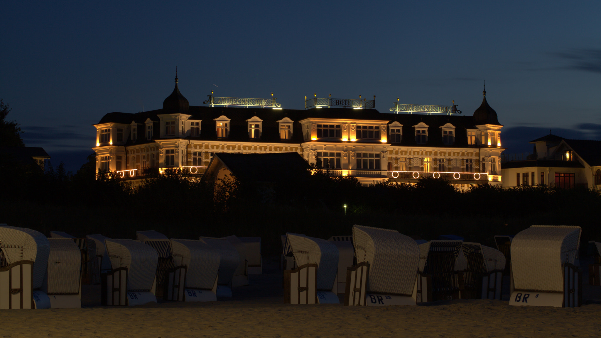 Photograph Ahlbecker Hof at Night by Peter Samow on 500px