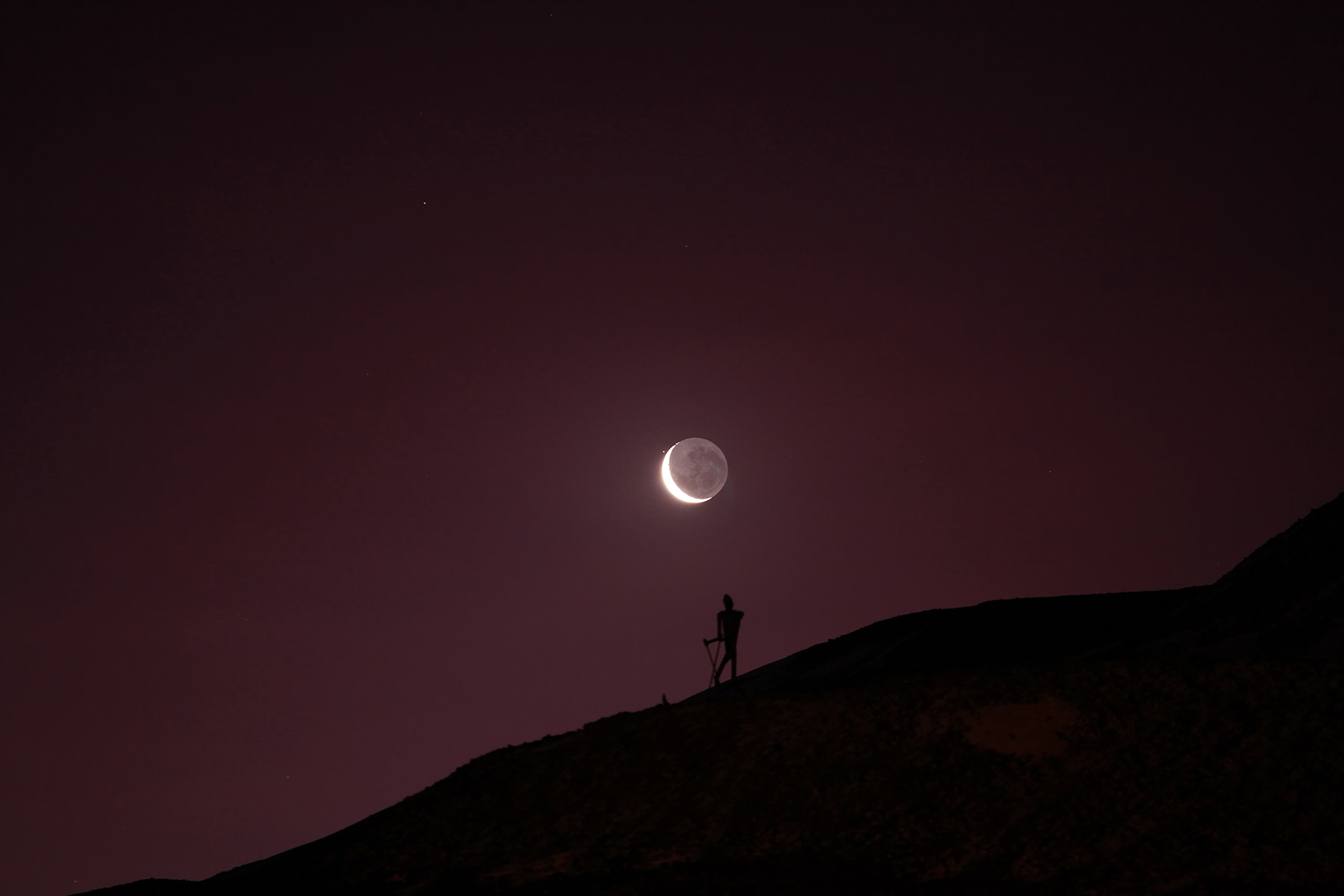 Photograph Skiing A Crescent Moon by Deven Stross on 500px