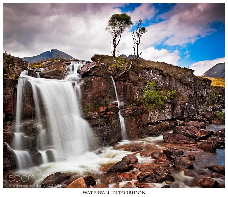 Waterfall under Beinn Alligin in Torridon in Scotland