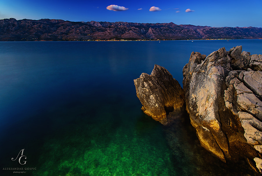 Last moments before the night in the Velebit Channel, on the other side is Velebit mountain