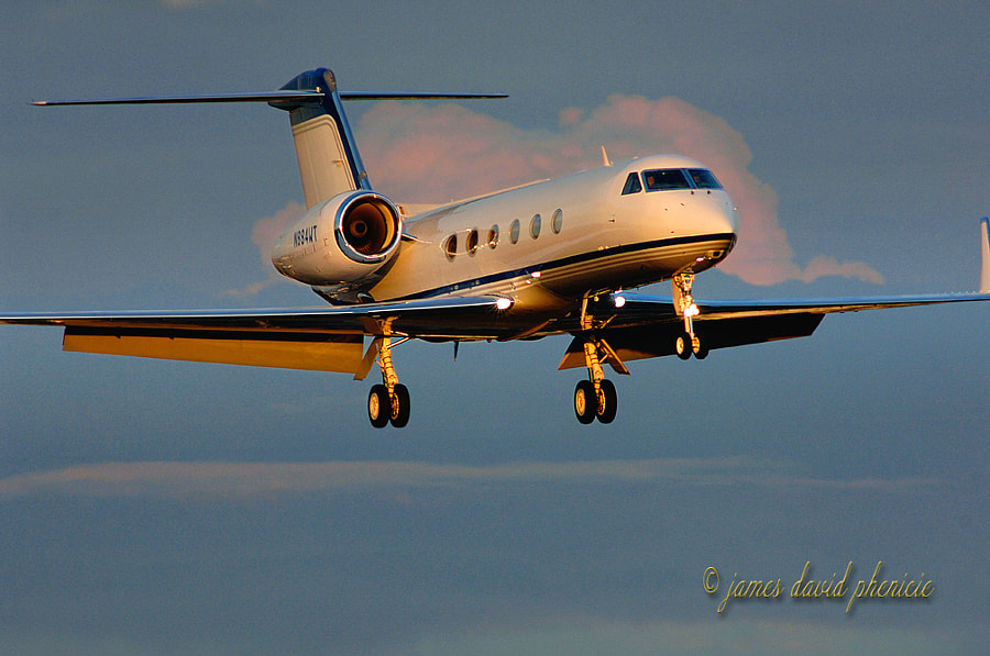 GIV-X (G450)  on short final to local airport.  Please do not use without permission or compensation.  © James David Phenicie.     All Rights Reserved.