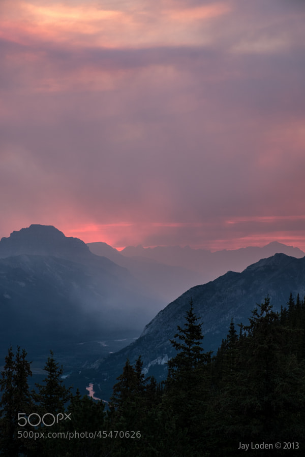 This is what it looks like when you're at the top of a mountain for sunset during a forest fire - incredible!  Sulphur Mountain Summit, Banff National Park, Alberta Canada