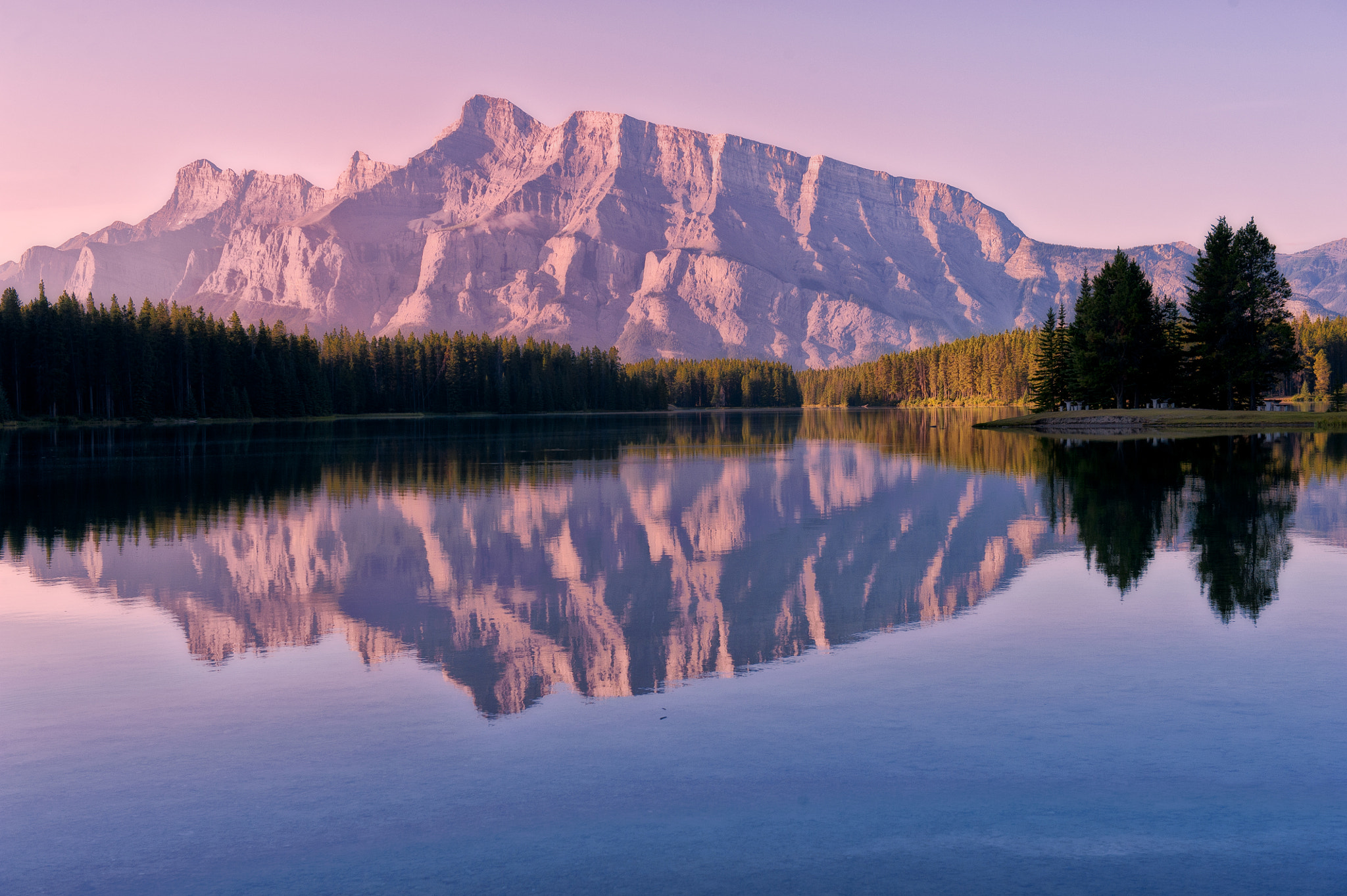 Photograph Early Morning Light at Two Jack Lake by Jeff Clow on 500px
