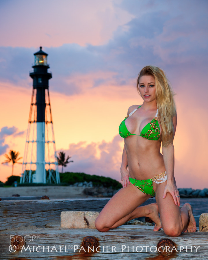Sunrise Swimwear photo shoot at Hillsboro Inlet, Pompano Beach, FL. Hillsboro Lighthouse in the background.