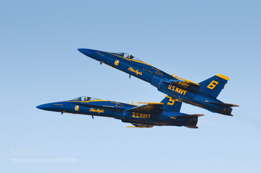 Blue Angels Solo aircraft 5 & 6 fly over NAS Pensacola