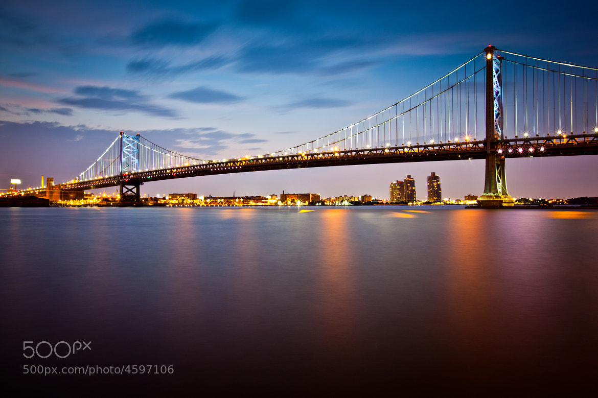 Photograph Ben Franklin Bridge at dusk by Rich Williams on 500px