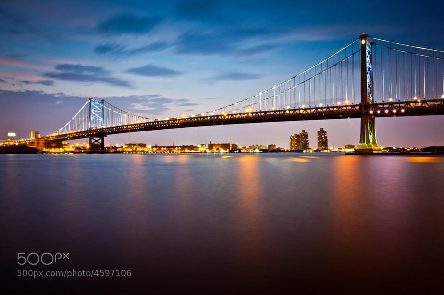 Ben Franklin Bridge at dusk  Summer, 2011  Philadelphia, PA