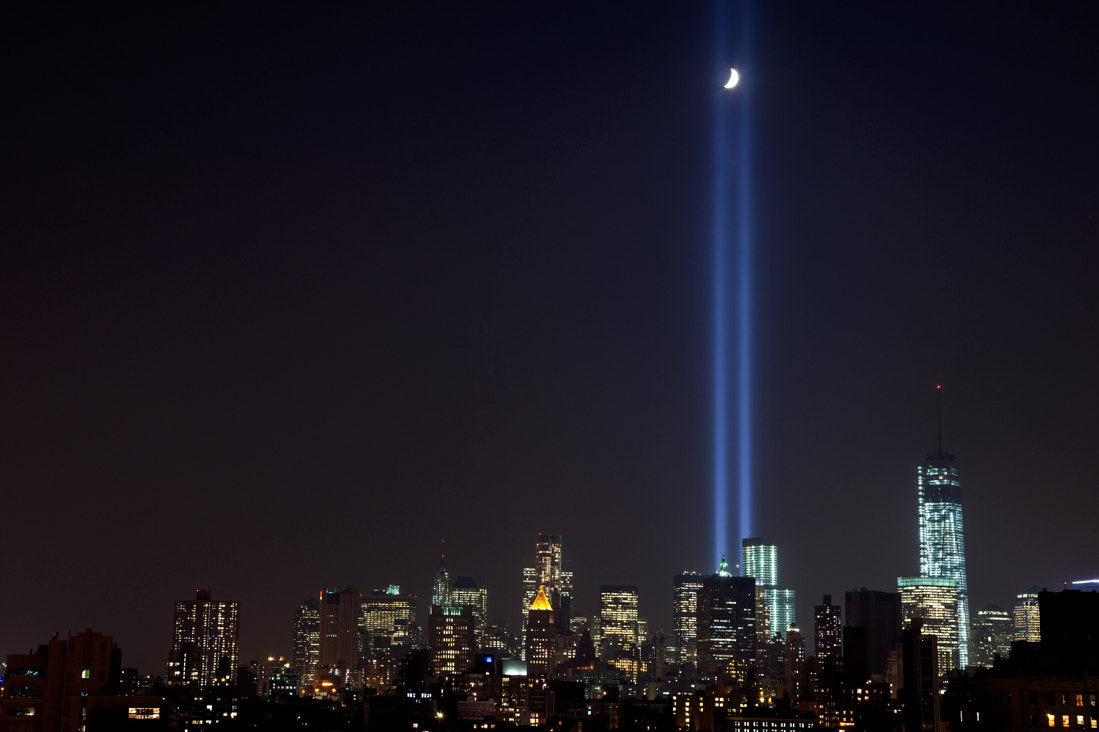 Photograph 9.11 Tribute in Light, Moon by JamesandKarla Murray on 500px